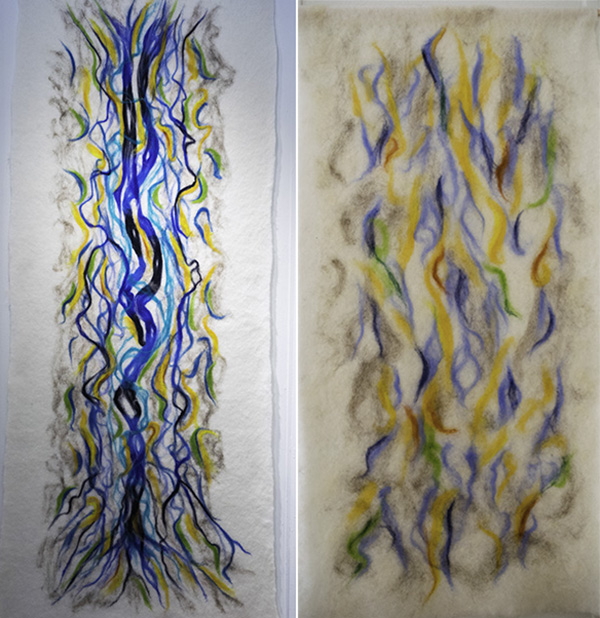 "B. Nina Holzer, ""Water Spirits Returning"", ""Morning at the Creek"", Felted Wool Canvas"