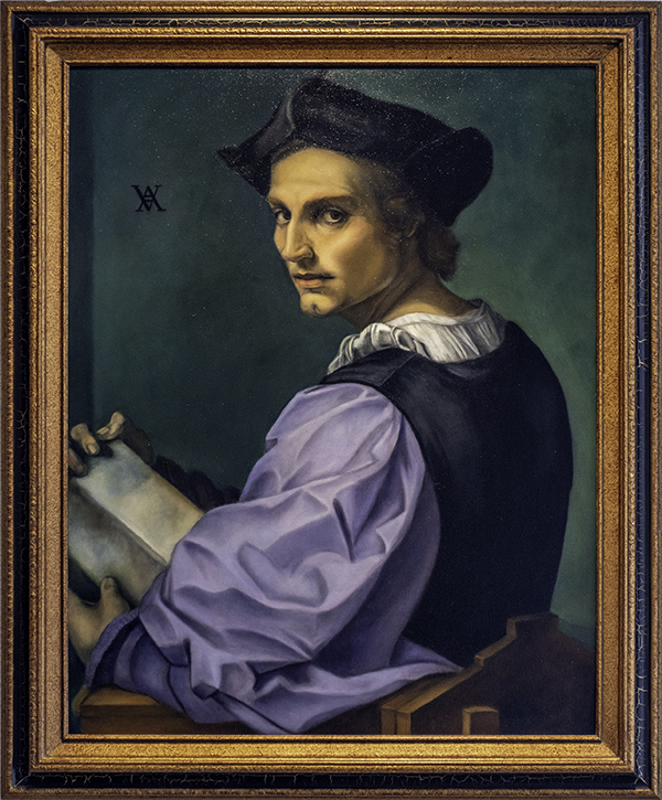 Karen Copsey, Portrait of a Young Man by Andrea del Sarto 1517, The 9th Annual Forgery Show, Liberty Arts, Yreka, CA