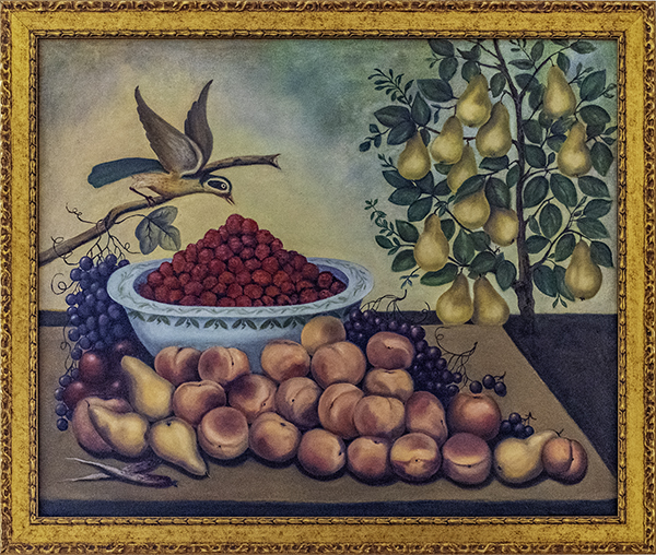 Cindy Schltheiz-Corrales, Still Life, Bird & Dwarf Pear Tree by Charles V. Cond 1856, The 9th Annual Forgery Show, Liberty Arts, Yreka, CA