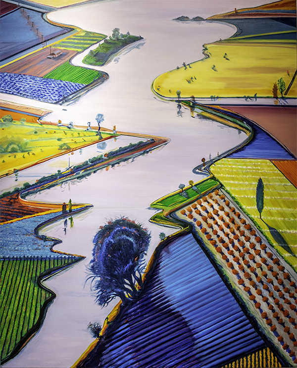Anne McTavish, River and Farms by Wayne Thiebaud 1996m The 9th Annual Forgery Show, Liberty Arts, Yreka, CA